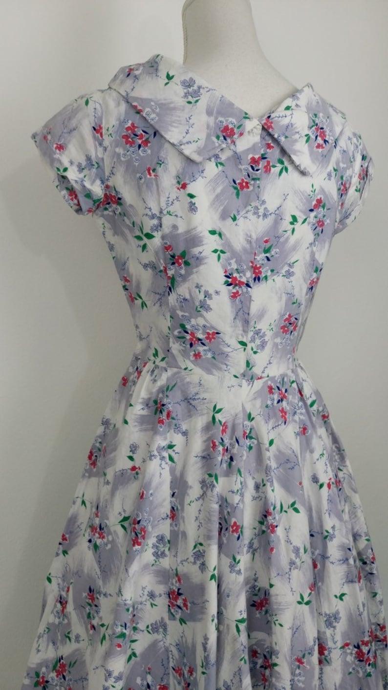 1950s Brushed Cotton Dress floral print dress50s summer dresssize XS