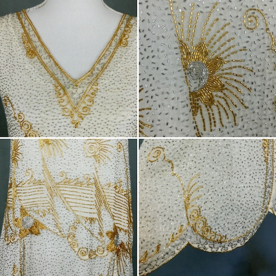 1920s Flapper Beaded Dress Made in France - image 9