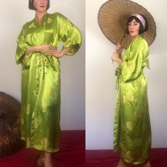 Vintage liquid chartreuse silky satin damask robe