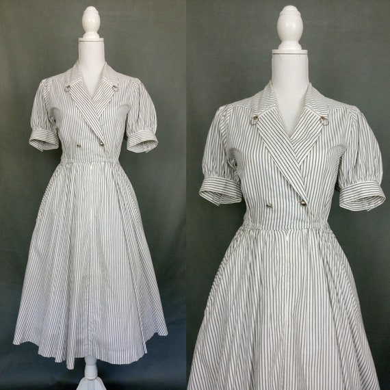 Vintage 80s does 50s Cotton stripes dress with puf