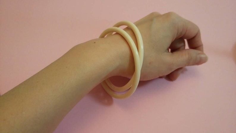 Vintage cream lucite bangles stackable set of two spacers bracelets 1960s