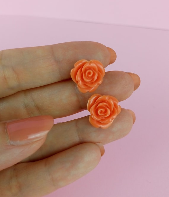 Vintage celluloid coral roses pierced earrings