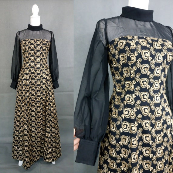 Vintage 60s black and gold embroidered Maxi Dress/