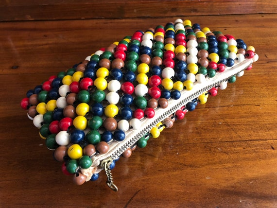 Vintage 30s/40s multicolour wooden beads purse/30s