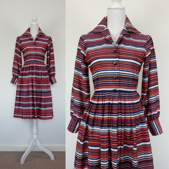 Vintage 70s stripes shirtwaist dress size S