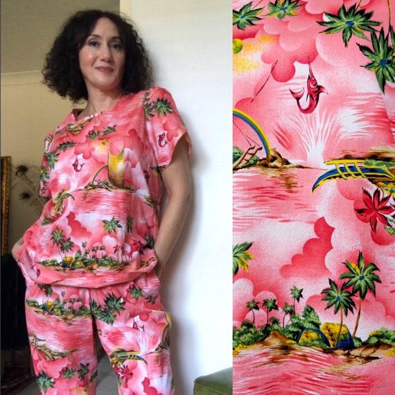 Vintage 80s Hawaiian print lounging set/pijama set