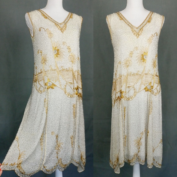 1920s Flapper Beaded Dress Made in France