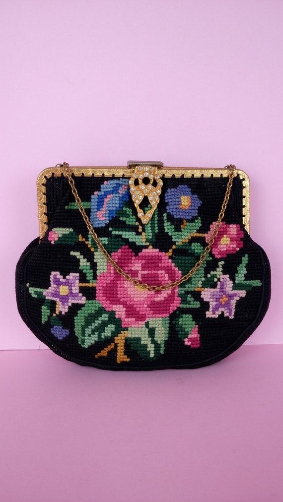Vintage 30s/40s tapestry bag/floral carpet bag