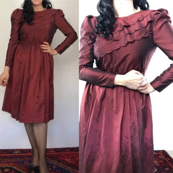 Vintage 70s does 30s Rusty Brown Dress/puffy sleev