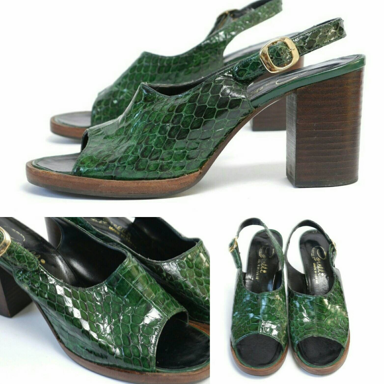 RESERVED reptile for HEATHER/Vintage 60s Green reptile RESERVED open toe slingback sandals by Corelli/size 8M a3d829