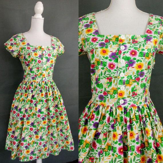 Vintage 80s Esprit summer cotton floral dress/size
