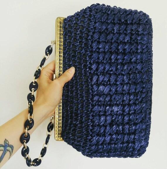 Vintage 60s vibrant blue woven raffia crochet bag