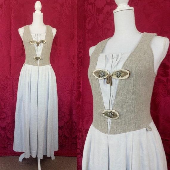 dirndl linen dress Vintage bavarian prairie dress size M medium beige naturall dress