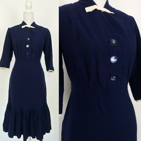 Vintage late 30s navy blue wool dress/size M
