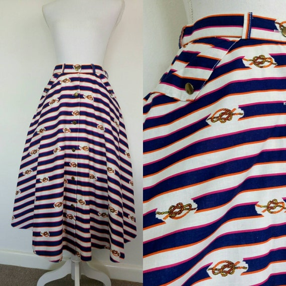 Vintage 80s does 50s skirt nautical stripes full s