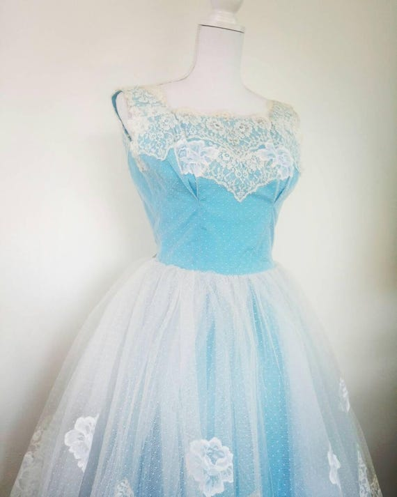 27aecabf27 50s Prom Dress Party Lace Tulle Cocktail Dress with Scalloped