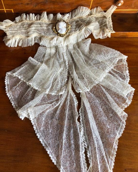 Antique Victorian Jabot/spider web lace collar