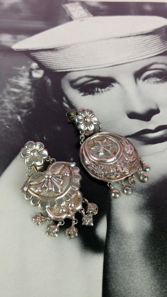 Vintage silver pendant earrings/ethnic boho gipsy
