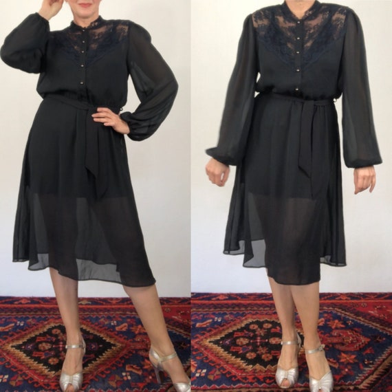 Vintage 70s black sheer dress/bishop sleeves/size