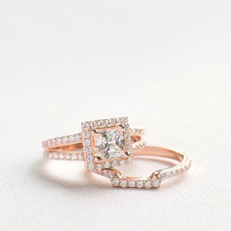 813ae0df64d1f7 Princess Cut Wedding Ring Set Sterling Silver Ring Set | Etsy