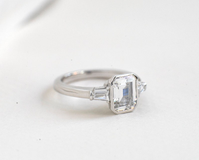 f75afcb1b9a0c Emerald Cut Engagement Ring - Sterling Silver Solitaire Ring - Art Deco  Cubic Zirconia Ring - Three Stones Ring - Promised Ring - A71