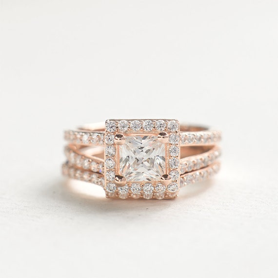Princess Cut Wedding Ring Set Sterling Silver Ring Set Etsy