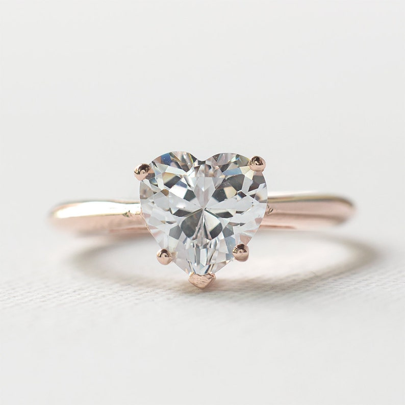 e354384aa8b0b Rose Gold Engagement Ring - Sterling Silver Heart Shaped Ring - 925 Heart  Cut CZ Engagement Ring - Solitaire Ring - Valentine's Ring