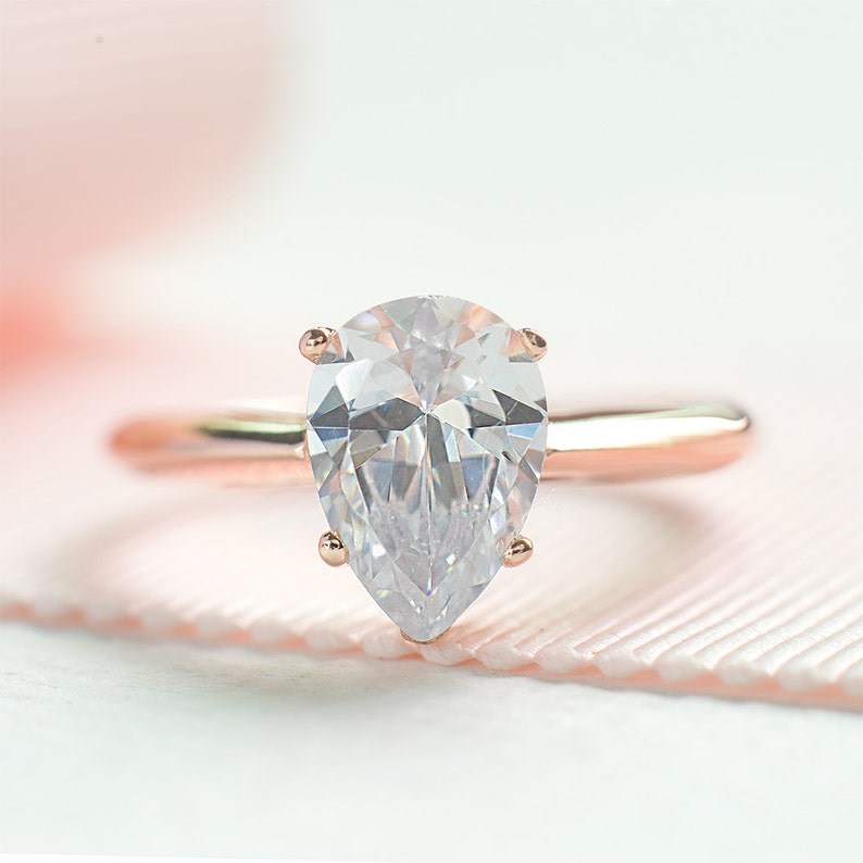 Pear Cut Engagement Ring 2 ct  Teardrop Proposed Ring  Rose image 0