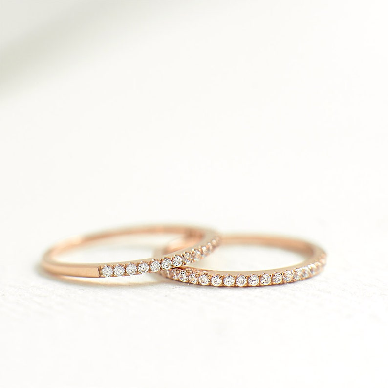 Rose Gold Half Eternity Ring 1.2mm  Sterling Silver Stacking image 1