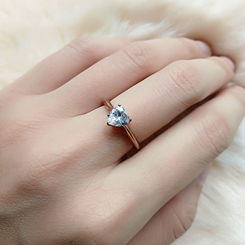 014192508dc95 Heart Rose Gold Engagement Ring (6mm) - Cubic Zirconia Heart Ring -  Sterling Silver Ring - Heart Solitaire Ring - Rings for women