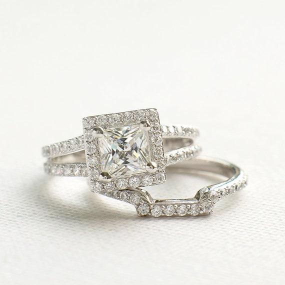 Princess Cut Wedding Ring Set Sterling Silver Ring Set Cz Etsy