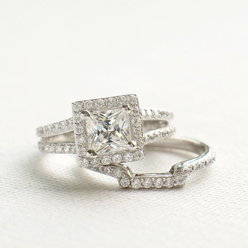 61f4b8d39e615c Princess Cut Wedding Ring Set Sterling Silver Ring Set CZ | Etsy