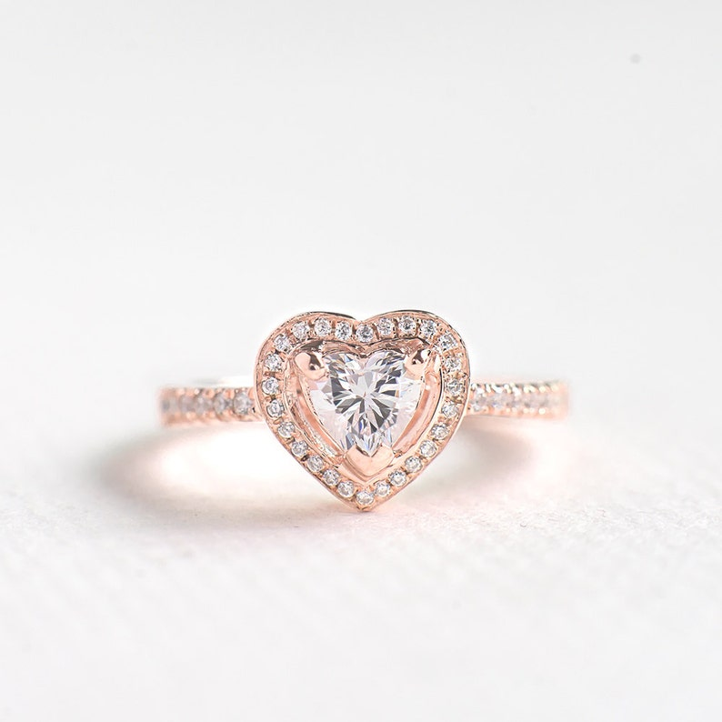 07aecd4946 Rose Gold CZ Heart Cut Ring Sterling Silver Engagement Ring | Etsy
