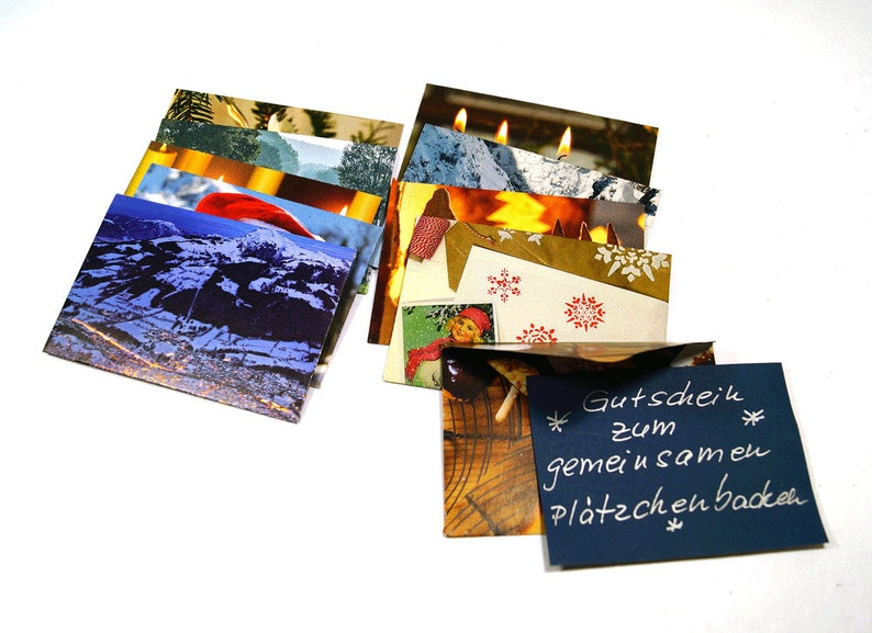 Top 10 Weihnachtsplätzchen.10 Recycled Hand Cuted Envelops With Old Fotos Of Winter Motifs And Nature Old Magazin Fotos Set 3 Mini