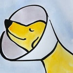 hand painted greeting card - Get Well Soon - Yellow Lab - Golden Retriever - Cone of Shame