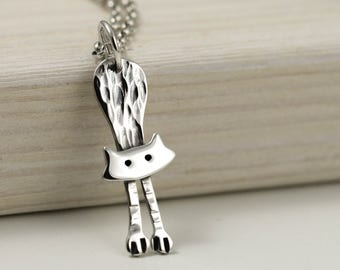 Cat Necklace - Sterling Silver Cat Jewellery - Hanging Cat - Cat Lover Gift