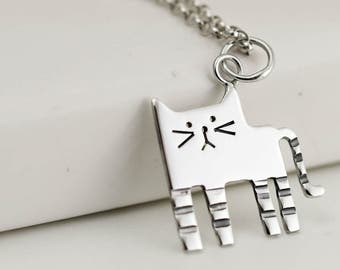 Sterling Silver Cat Necklace - Animal Jewellery - Cat Gifts