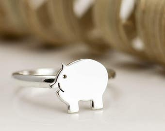 Sterling Silver Piggy Ring - Pig Jewellery - Pig Gifts