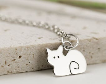 Sterling Silver Cat Necklace - Cat Jewellery - Cat Gift
