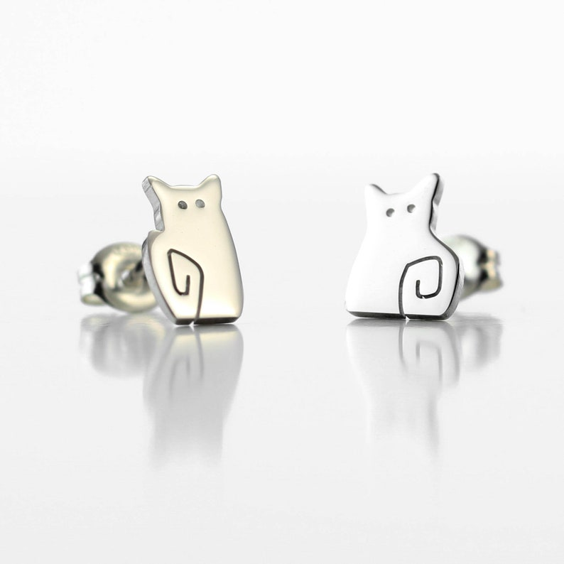 Mis-Matching Cat Stud Earrings - Tiny Cat Earrings - Cat Lover Gift