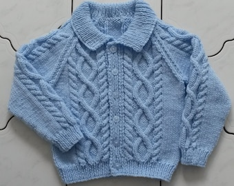 TO ORDER 6-12 months, 1-2 yrs, 3-4 yrs, 5-6 yrs, 7-8 yrs Hand Knitted Baby/Child Aran Cardigan/Jacket