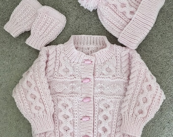 NEW 1-2 yrs years/22 inch/56 cms - Hand Knitted Girls Aran Cardigan/Jacket Hat Mitts