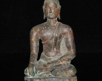 RARE Antique Chiang Saen Lanna Bronze Statue of the BUDDHA 14th Century Thailand