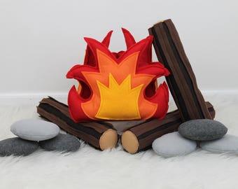 Campfire Play Set, Felt Campfire, Pretend Fire, Felt Fire, Fire Pit, Light Up Fire, Felt Bark Logs, Felt Food, Teepee Play, Camping Decor