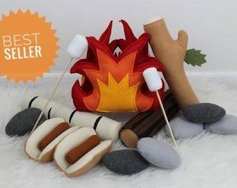 Play Campfire, Felt Campfire, Toy Campfire, Campfire Play Set, Felt Food, Felt Marshmallows, Felt Hot dogs, Camping Party, Decor