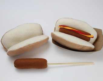 Felt Hotdog, Play Hotdog, Felt Food, Roastable Hotdog on bun, Ketchup, Mustard, Pretend Felt Food Play Set, Campfire