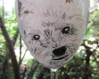 Hand Painted West Highland Terrier Westie Wine Glass
