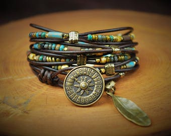 "5-Wrap Leather Bracelet -- Fits 6-1/2"" Wrist"
