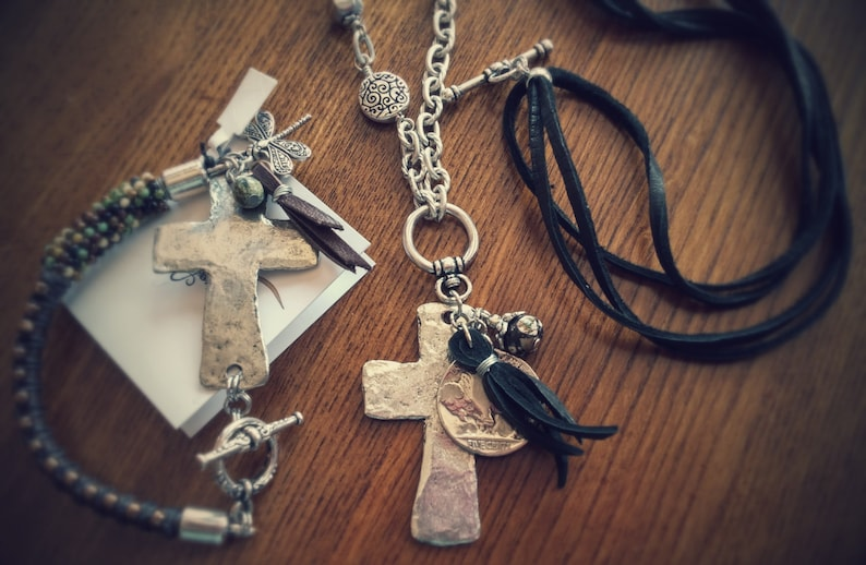 Convertible Pewter Cross Necklace