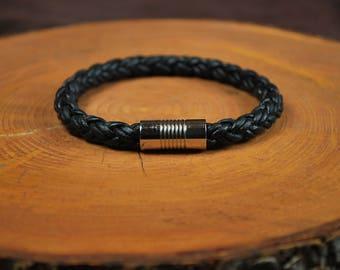 "Men's Leather Bracelet -- Fits 8"" Wrist"